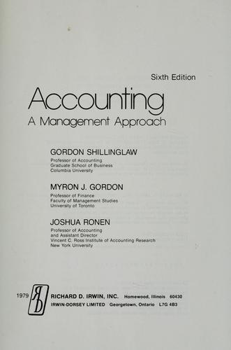 Accounting by Gordon Shillinglaw