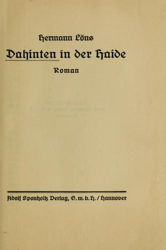 Dahinten in der Haide by Hermann Löns