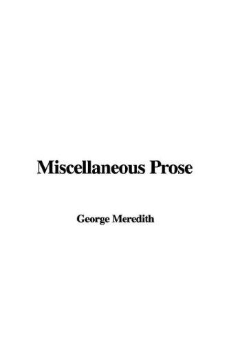 Miscellaneous Prose