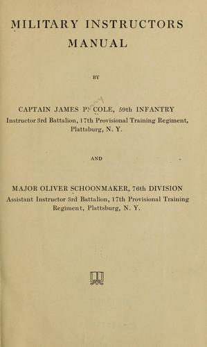 Military instructors manual by J. P. Cole