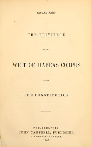 The privilege of the writ of habeas corpus under the Constitution.
