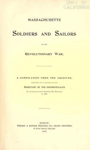 Massachusetts soldiers and sailors of the revoluntionary war.