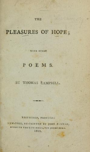 The pleasures of hope by Campbell, Thomas