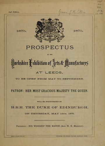 Prospectus of the Yorkshire Exhibition of Arts & Manufactures at Leeds by