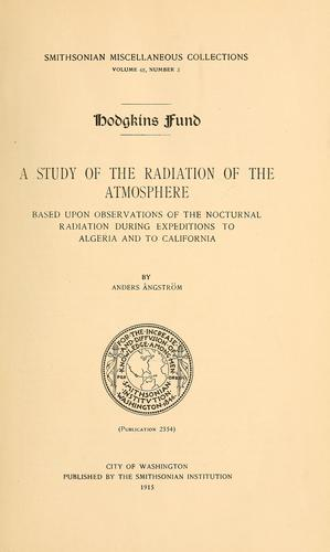 A study of the radiation of the atmosphere by Anders Knutsson Ångström