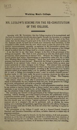 Mr. Ludlow's scheme for the re-constitution of the College by John Malcolm Forbes Ludlow