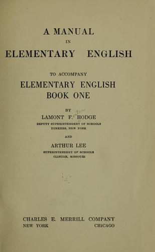 A manual in elementary English by