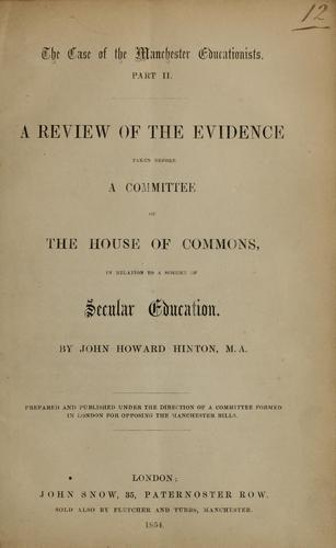 The case of the Manchester educationists by Hinton, John Howard
