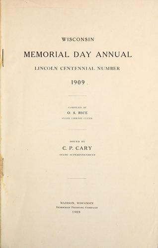 Wisconsin Memorial Day annual by O. S. Rice