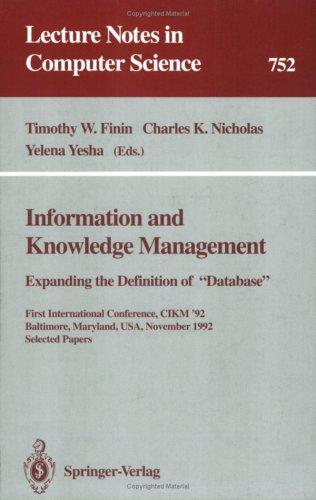 Information and knowledge management by International Conference on Information and Knowledge Management (1st 1992 Baltimore, Md.)