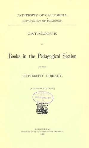 Catalogue of books in the pedagogical section of the University Library.