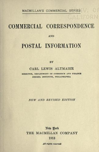 Commercial correspondence and postal information by Carl Lewis Altmaier