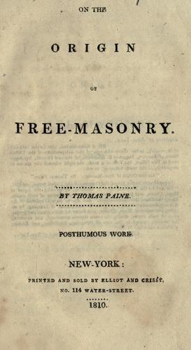 On the origin of free-masonry.