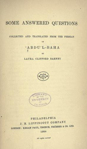 Some answered questions by Abdul-Bahá