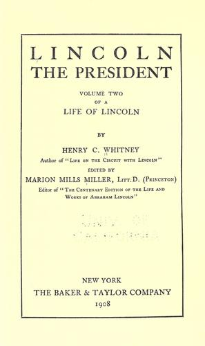 Life of Lincoln by Henry Clay Whitney