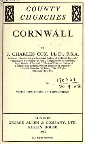 Cornwall by J. Charles Cox