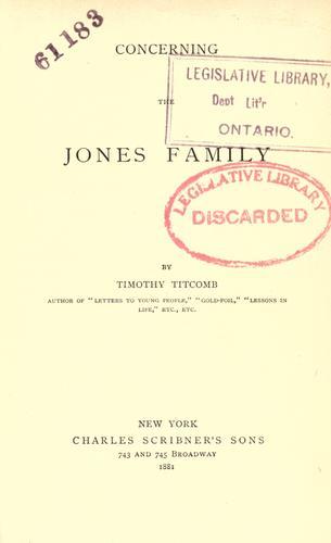 Concerning the Jones family