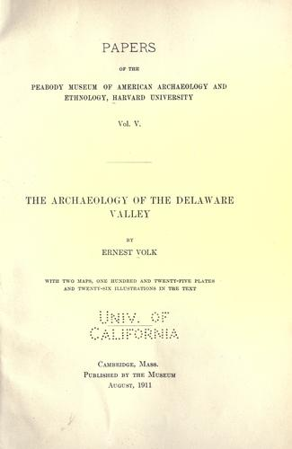 The archaeology of the Delaware valley