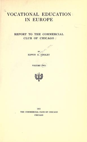 Vocational education in Europe by Edwin Gilbert Cooley