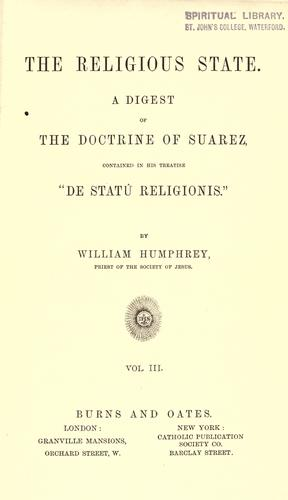 The religious state by Suárez, Francisco